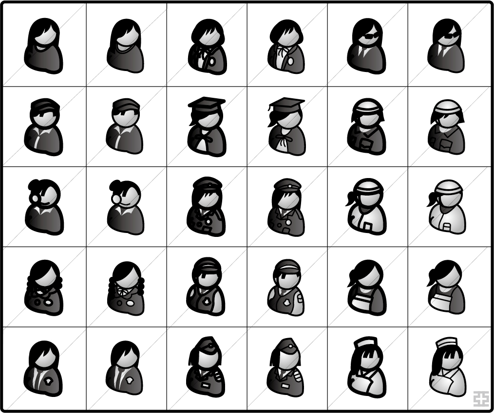 イラストレーション 女性アイコン 働く女性・学生編 亞流