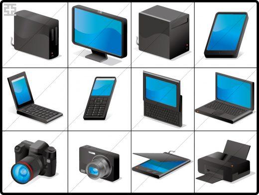 黒バージョンのベクタータイプのパソコン・デバイスアイコン 亞流