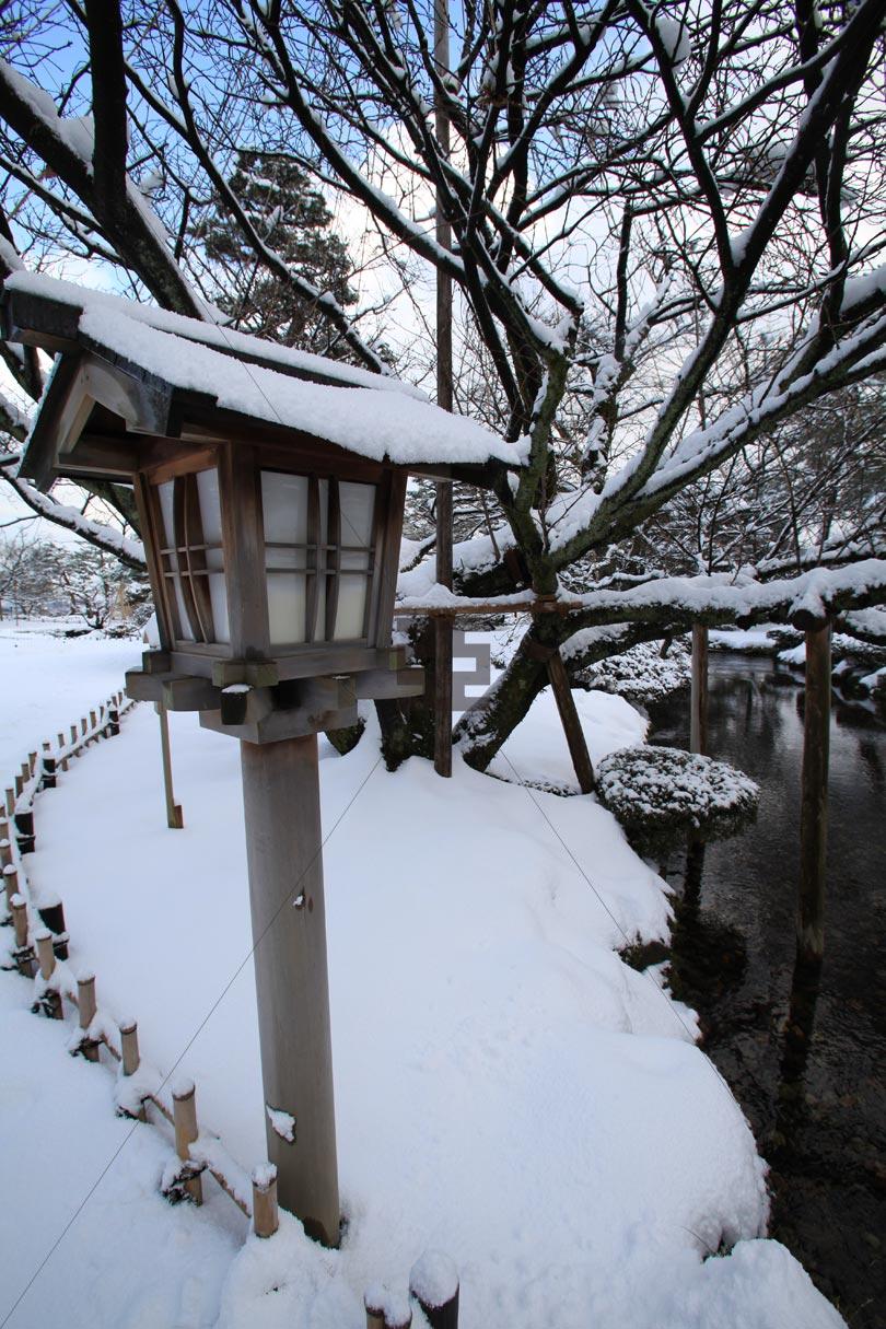 兼六園 雪景色 庭園 写真 亞流