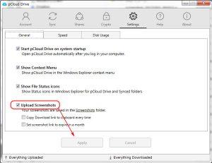 pCloud スクリーンキャプチャ 自動アップロード