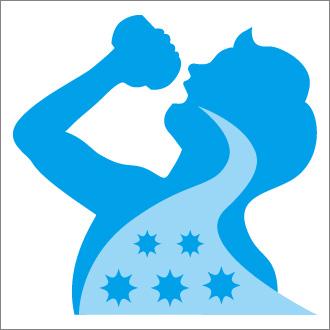 こまめに水を飲んでウィルスを胃に流す